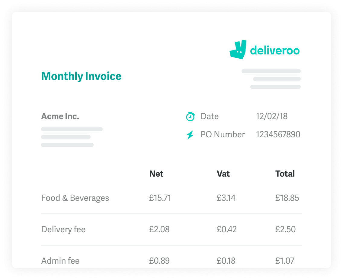 Deliveroo For Business  Corporate  Catering Orders Forget About Fiddly Expense Systems And Hoarding Receipts Deliveroo For  Business Gives You One Transparent Bill With Vat Information Outlined